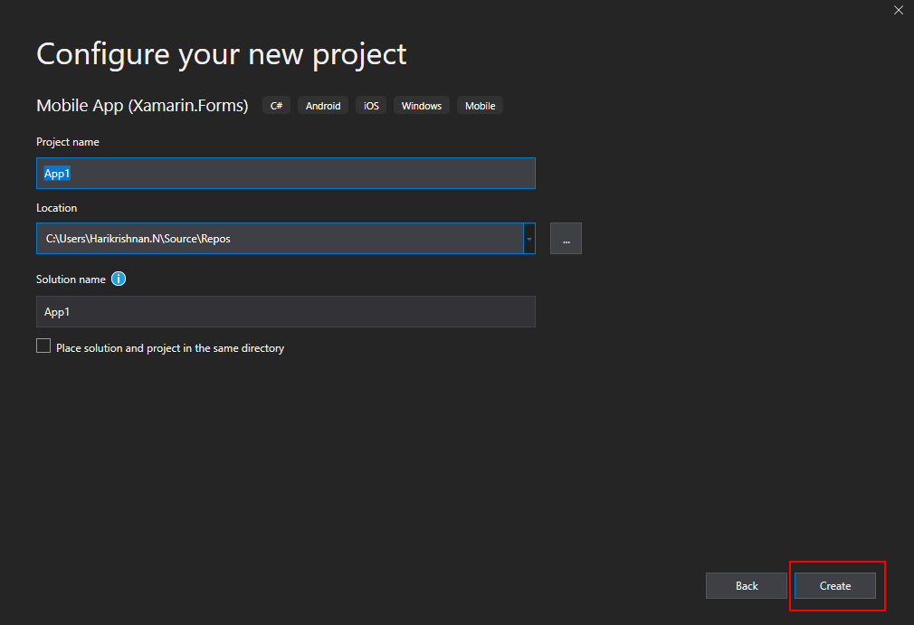 Project creation Wizard 3