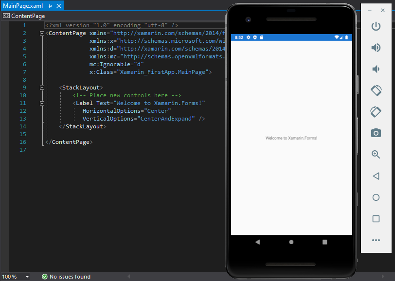 Xamarin Forms Getting Started Output